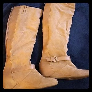 Express brand suede tan colored boots